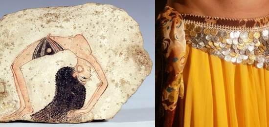 Ostracón con bailarina acróbata. XIX Dinastía (hacia 1297-1185 a.C.) Museo Egipcio de Turín (Italia)