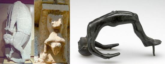 Hombre acróbata (ha. s.IV-III a.C) / Acróbata de Osuna (s.II a.C)  / Ménsula con acróbata (s.XII)