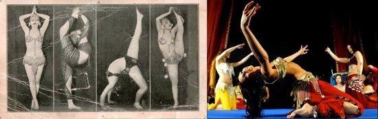 Imágenes promocionales de las bailarinas Nita & Zita (ha. 1940) / Pose de bailarina profesional de danza del vientre.