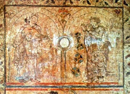 Pintura mural músicos. Qasr al-Hayr al-Gharbi, Siria. 730. (Museo Nacional de Damasco)
